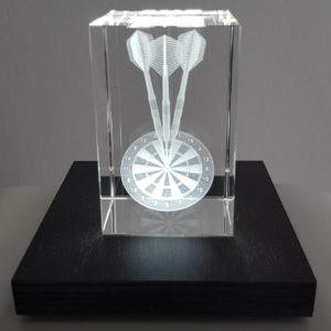 Dart Pokal Glas Quader 5cm x 8cm x 5cm
