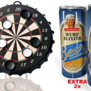 Geschenkset Kronkorken Dartspiel + 2x Wurfelixier (Helles)